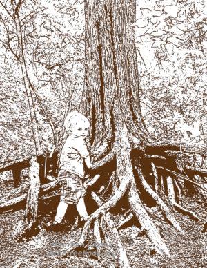 Boy & Tree by artist Maureen Carroll the Treebook Project